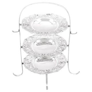 Sterling Silver Bon Bon Dish Stand / Centrepiece - Antique George V