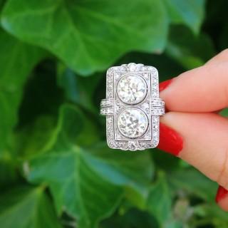 4.84 ct Diamond and Platinum Dress Ring - Art Deco - Antique French Circa 1920