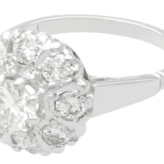 1.45 ct Diamond and 18 ct White Gold Cluster Ring - Vintage Circa 1960