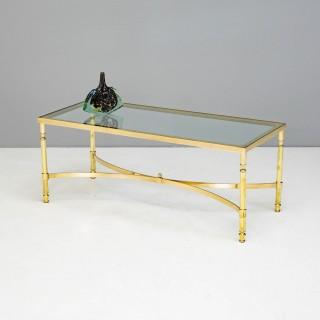 Glass Top Brass Coffee Table
