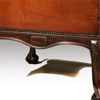 A Fine and Very Large Early 20th Century Leather Covered Open Armchair