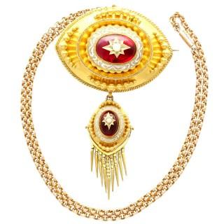 6.20ct Garnet, Pearl and Enamel, 18ct Yellow Gold Pendant / Brooch - Antique Circa 1880