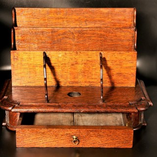 A Late 19th Century Oak Slope Fronted Correspondence Box