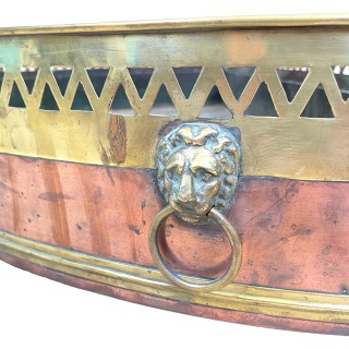 Regency English Demi Lune Copper & Brass Planter