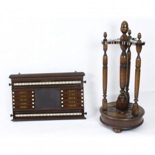 Antique oak snooker scoreboard with revolving cue stand 19th Century