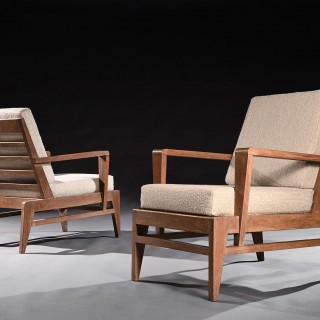 Iconic Pair of Rene Gabriel Mid 20th Century Oak Lounge Chairs