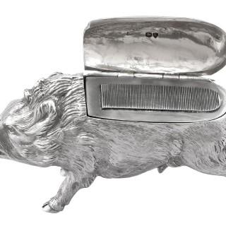 Sterling Silver Boar Vesta Box - Antique Victorian (1880)