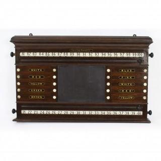 Antique Victorian Oak Snooker Score Board by Orme & Sons 19th C