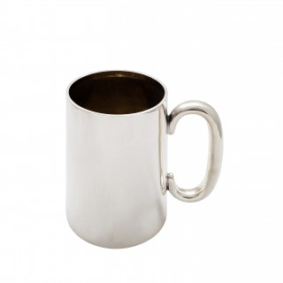 Antique Sterling Silver Pint Mug / Tankard with Glass Bottom 1929