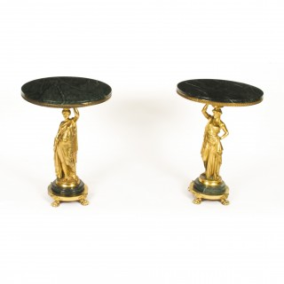 Antique Pair Figural Group Ormolu & Marble Occasional Tables 19th Century