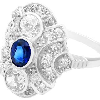0.63ct Sapphire and 1.64ct Diamond, 18ct White Gold Dress Ring - Antique Circa 1935