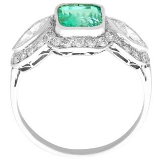 1.45ct Emerald and 1.43ct Diamond, Platinum Dress Ring - Antique Circa 1930