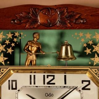 Italian Interest Automation Large Art Deco Oak Signed Odo Striking Wall Clock.