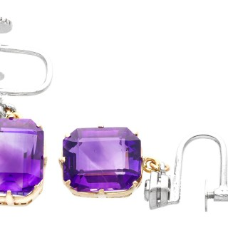 13.68ct Amethyst, 0.04ct Diamond and 18ct White Gold Drop Earrings - Vintage Circa 1940