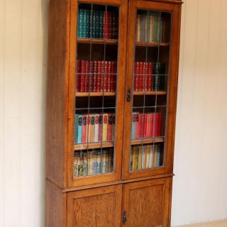 Tall Solid Oak Cabinet Bookcase
