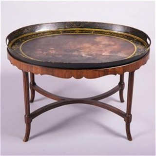 9th C Painted Toleware Tray on Stand - Battle of Trafalgar