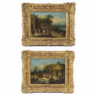 Antique Pair Oil on Canvas Paintings After David Teniers 18th C