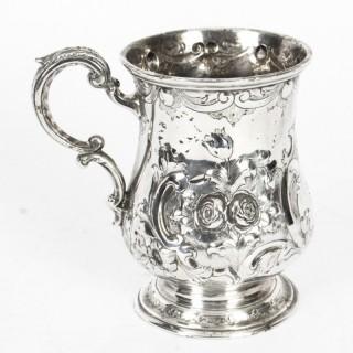 Antique Victorian Silver Plated Mug Round & Son C1860 19th C