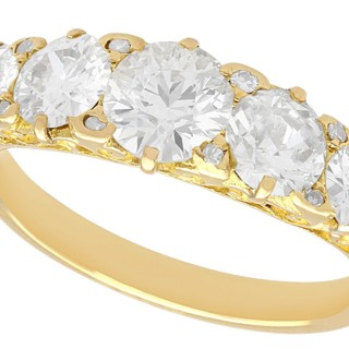 3.31 ct Diamond and 18 ct Yellow Gold Five Stone Ring - Antique Circa 1930