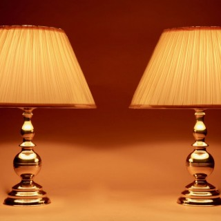 A Pair Of Very Decorative Solid Brass Table Lamps.