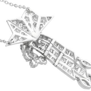 1.10ct Diamond and Palladium Tassel Pendant - Art Deco - Antique Circa 1935