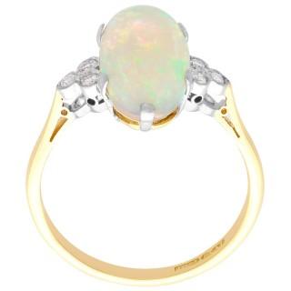 3.88ct Opal and 0.18ct Diamond, 18ct Yellow Gold Dress Ring - Vintage Circa 1940