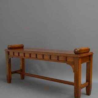 Reformed Gothic Oak Hall Bench