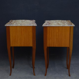 Pair of Marble Topped Bedside Cabinets