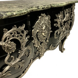 A MONUMENTAL SILVER MOUNTED COMMODE A VANTAUX AFTER LINKE