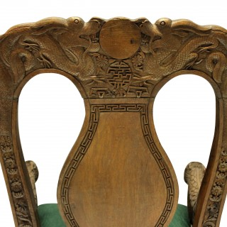 A PAIR OF FINELY CARVED XIX CENTURY CHINESE ARMCHAIRS