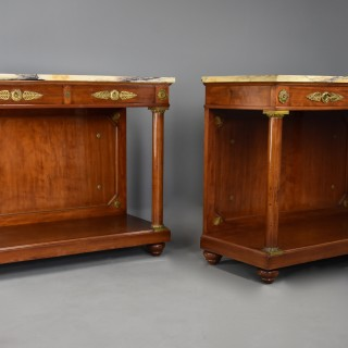 Pair of fine quality late 19thc French Empire style mahogany console tables, stamped 'Krieger Paris'