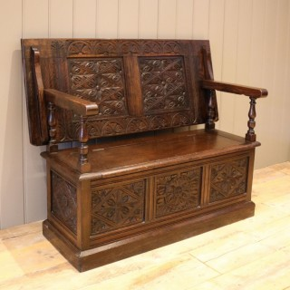 Late Victorian Solid Carved Oak Monks Bench