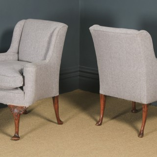 Antique English Pair of Georgian Style Grey Upholstered Beech Arm Chairs (Circa 1900)