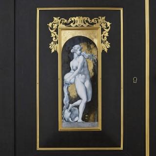 Large Napoleon III period ebony parquetry jewellery cabinet