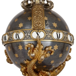 Marble, silvered bronze, and ormolu clock set by Barbedienne