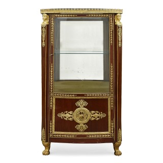 Antique French marble topped vitrine in the Empire style