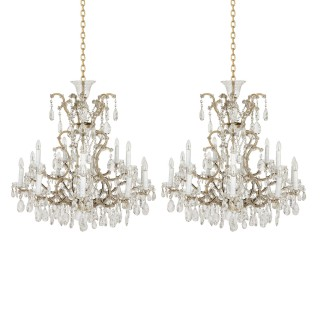 Pair of Bohemian faceted glass Rococo style chandeliers