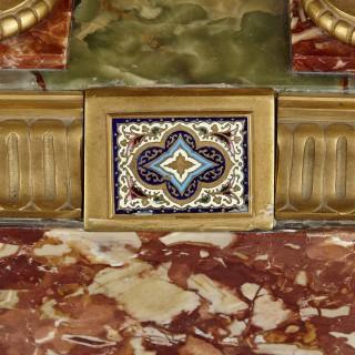 French Renaissance style gilt bronze and enamel mounted onyx longcase clock