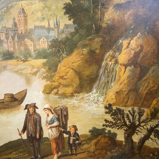 A CAPRICCIO RHINELAND LANDSCAPE, LARGE OIL ON CANVAS ATTRIBUTED TO CHRISTIAN GEORG SCHUTZ 18TH/19TH CENTURY