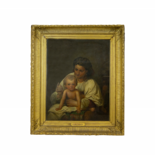 YOUNG MOTHER AND CHILD OIL ON CANVAS BY RICHARD BUCKNER (1812-1883)
