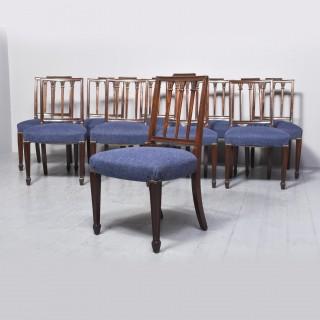 Ten George III Mahogany Hepplewhite Style Dining Chairs