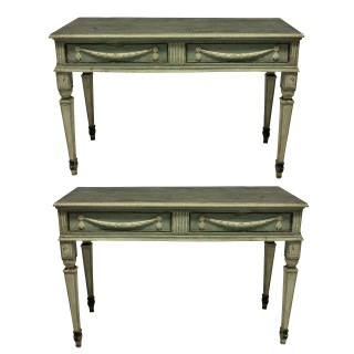 A PAIR OF LARGE XVIII CENTURY NORTHERN ITALIAN NEO-CLASSICAL CONSOLE TABLES