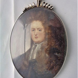 Nice quality 17th century silver mounted portrait miniature C1700