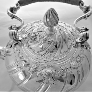 Superb George II silver kettle on stand London 1756 Gurney & Cook