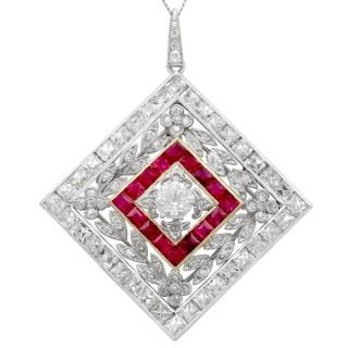 3.48 ct Diamond and 0.53 ct Ruby, Platinum Pendant / Brooch - Antique Circa 1900