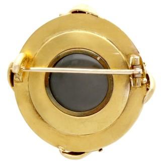 0.35ct Diamond and Enamel, 18ct Yellow Gold Brooch - Antique Circa 1880