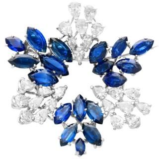 7.95ct Sapphire and 4.75ct Diamond, Platinum Pendant/Brooch - Vintage Circa 1960
