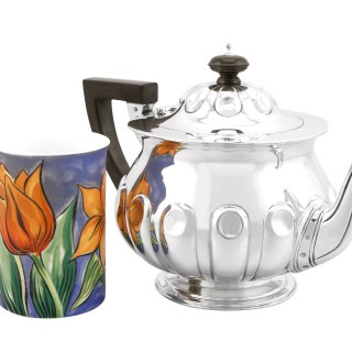 Sterling Silver Teapot by Reid & Sons - Arts and Crafts Style - Antique Edwardian (1904)
