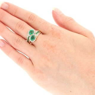 1.80ct Emerald and 1.05ct Diamond, 18ct Yellow Gold Dress Ring - Contemporary (2001)