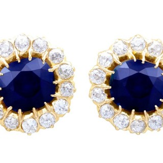 7.05ct Sapphire and 2.31ct Diamond, 18ct Yellow Gold Cluster Earrings - Antique Circa 1930